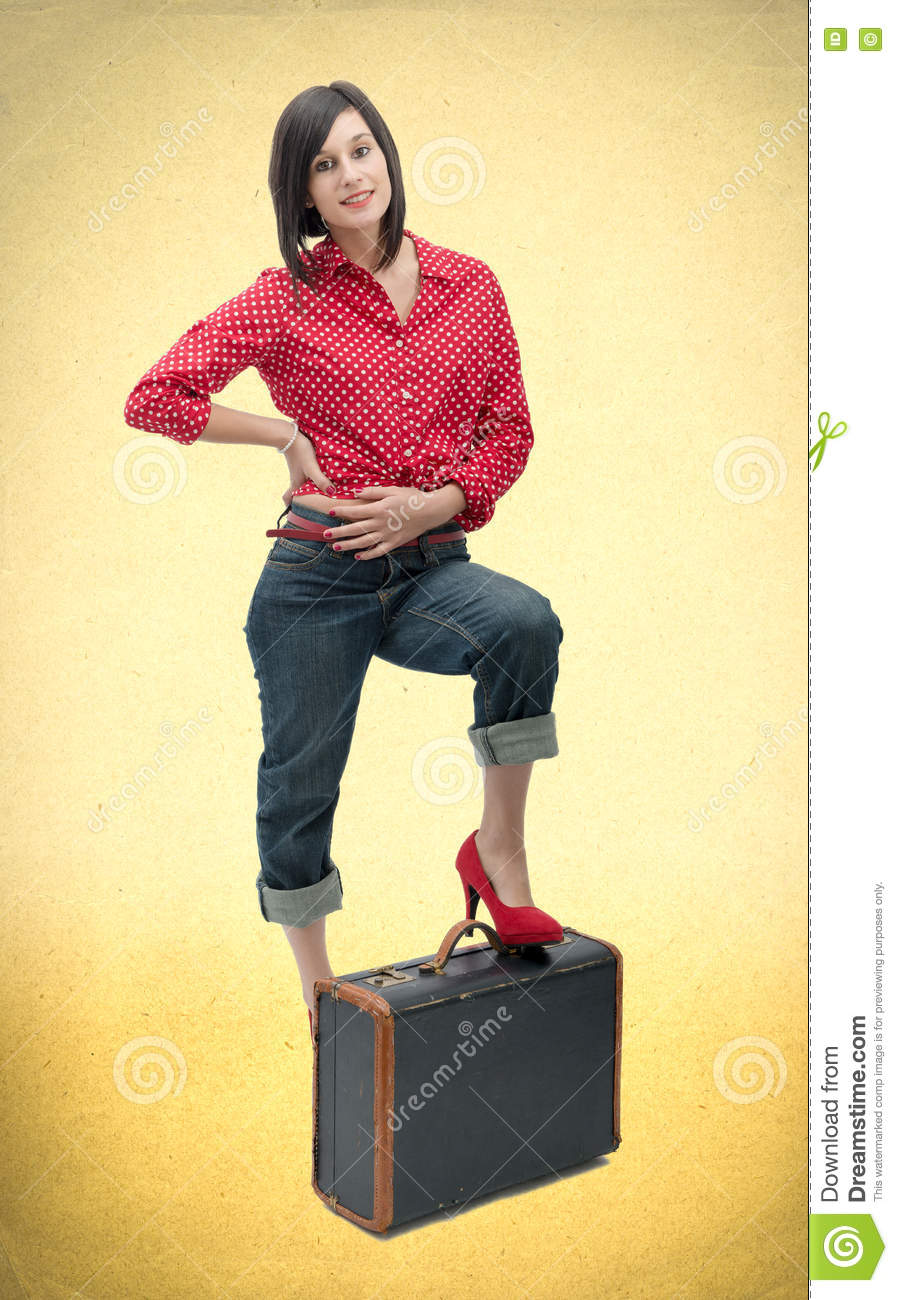 beautiful woman with a suitcase in a retro style stock photo 41400462. Black Bedroom Furniture Sets. Home Design Ideas