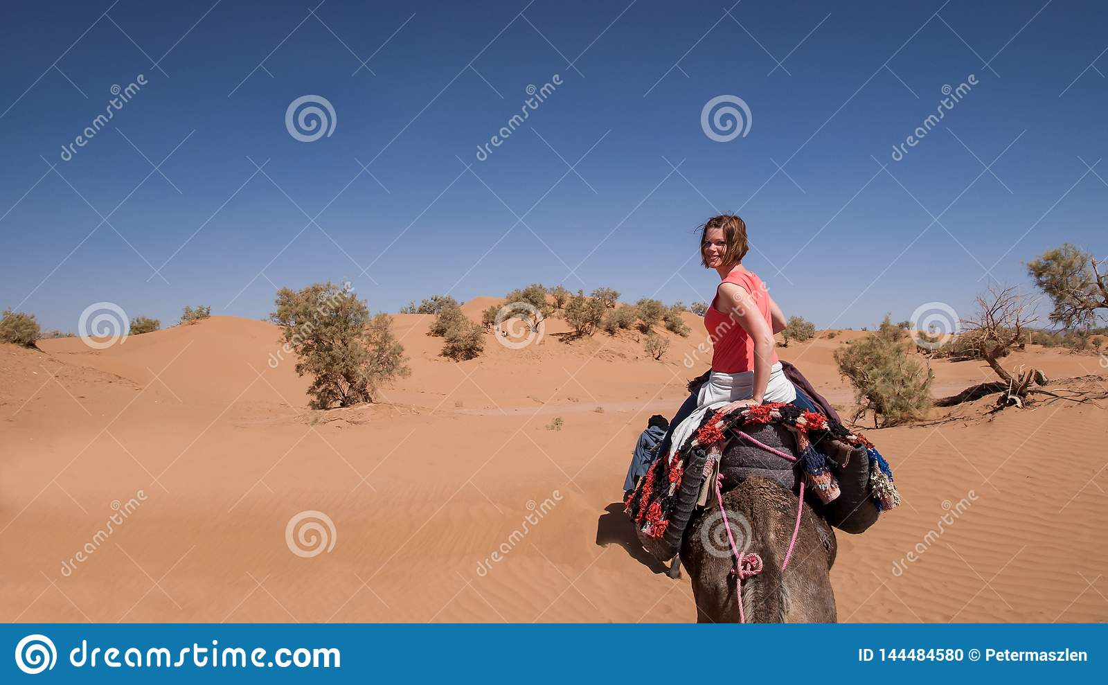 Young woman riding on a dromedary in the Moroccan sand desert