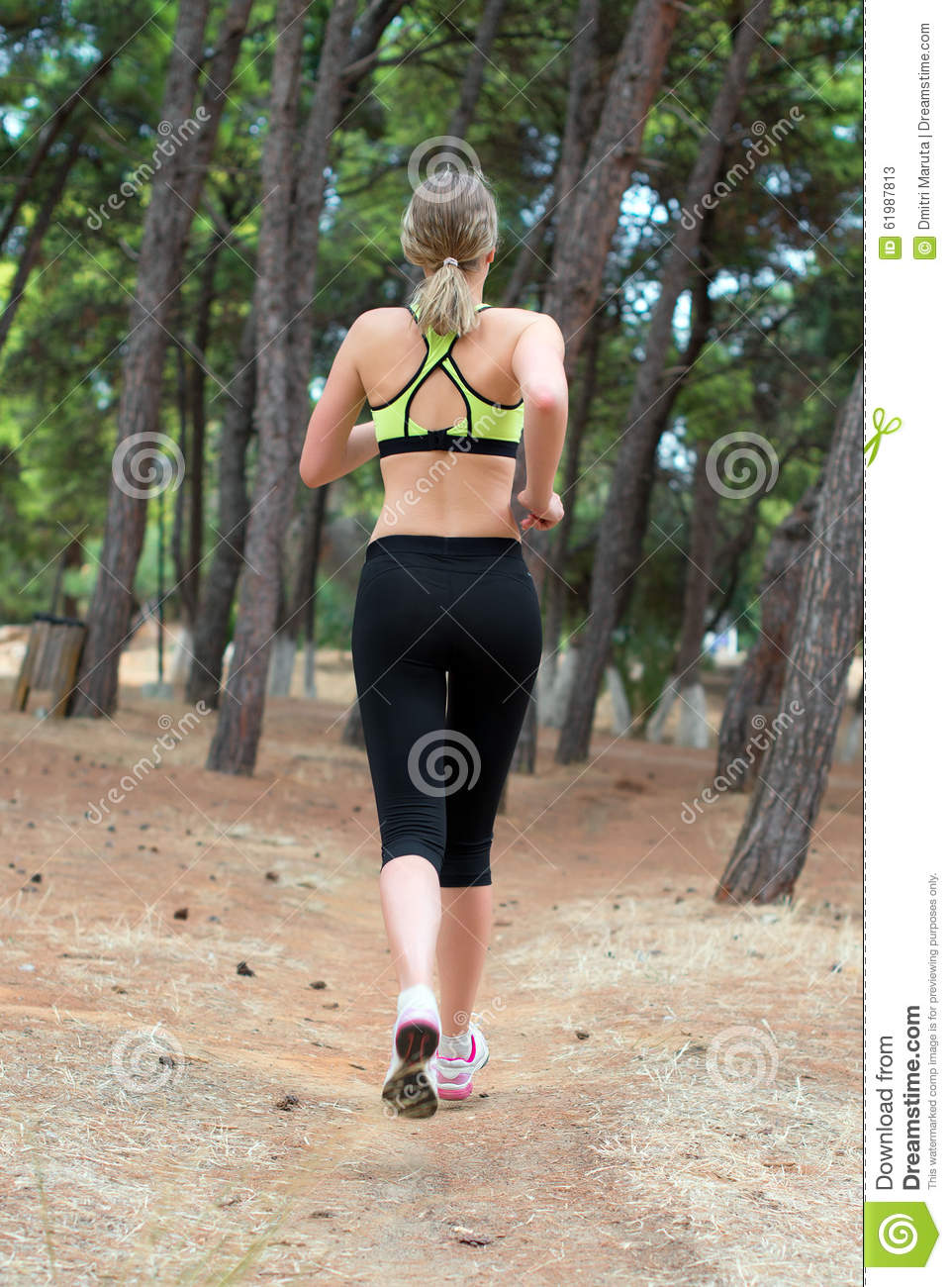 Woman Running On Footpath In The Park Royalty-Free Stock ...