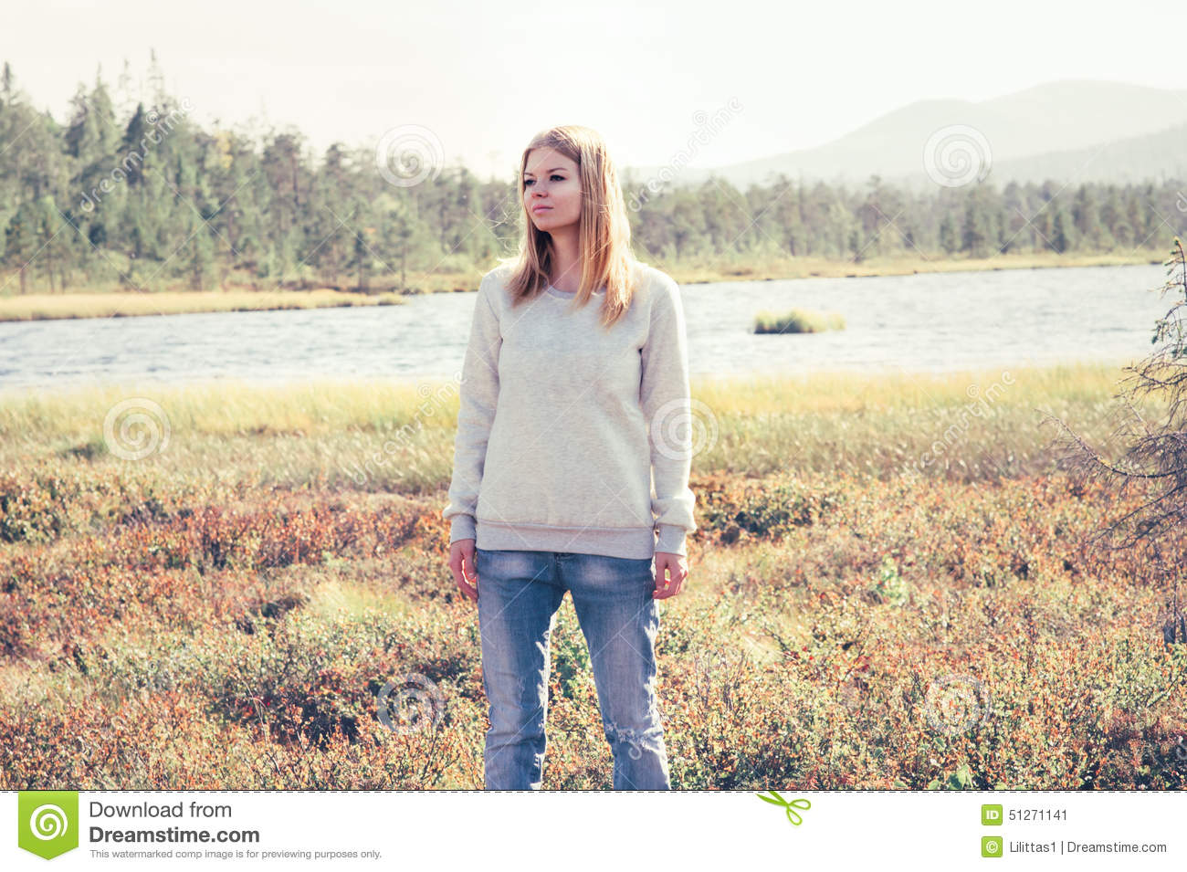 young woman sad walking alone outdoor travel stock photo. Black Bedroom Furniture Sets. Home Design Ideas