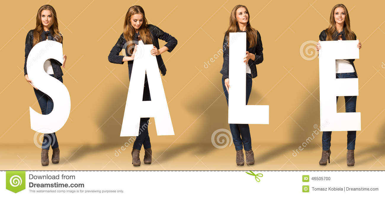 Young woman with sale letters