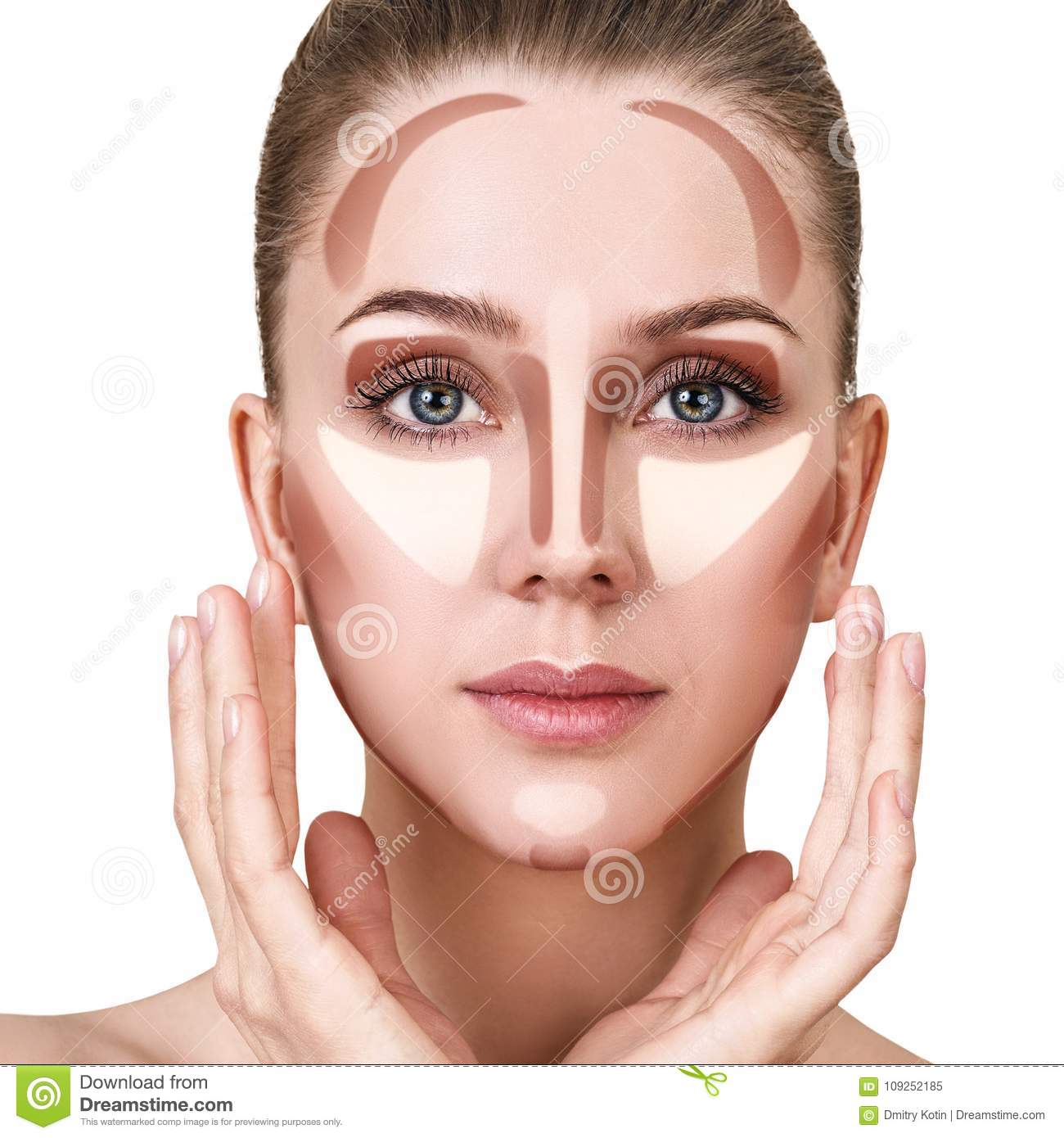 Young Woman With Sample Contouring And Highlight Makeup On Face