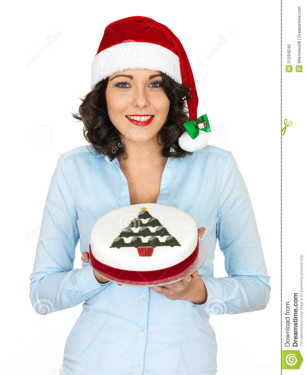 ad27bdbdee7f8d A DSLR royalty free image, festive happy young woman smiling, with dark  hair, holding a christmas cake with white icing and christmas tree on top,  ...