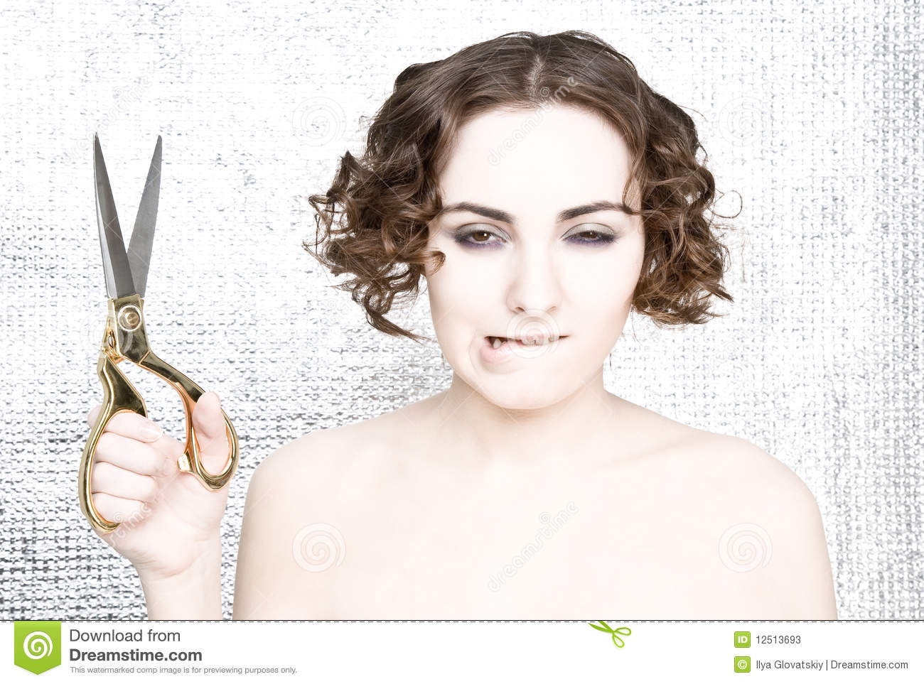 Young Woman With Scissors Stock Photos - Image 12513693-3091