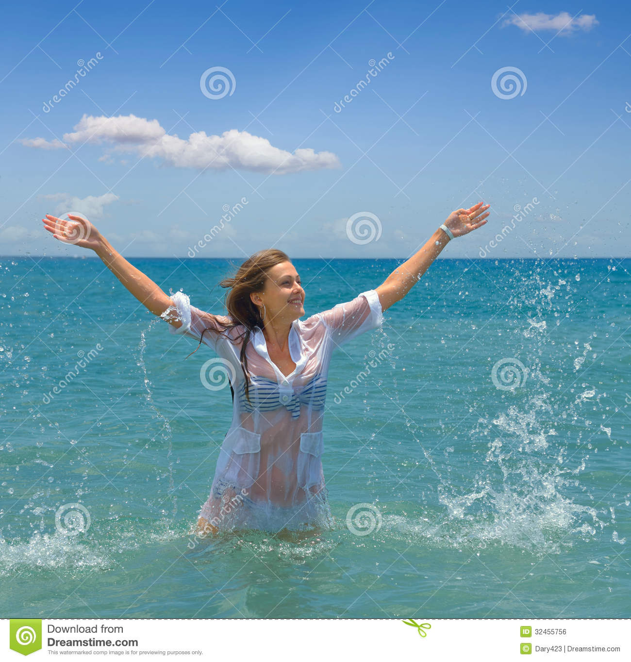 Young Woman And Sea Stock Photo. Image Of Dress, Lying