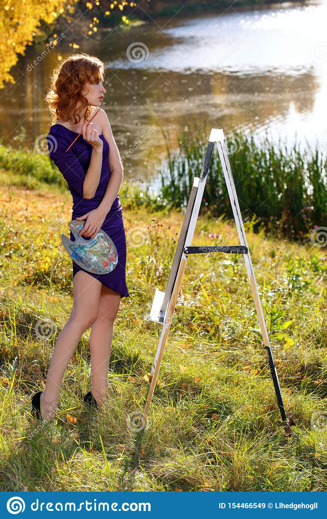 Young Woman In Dress Painting Outdoors In Autumn Park Stock Image Image Of Idea Colouring 154466549