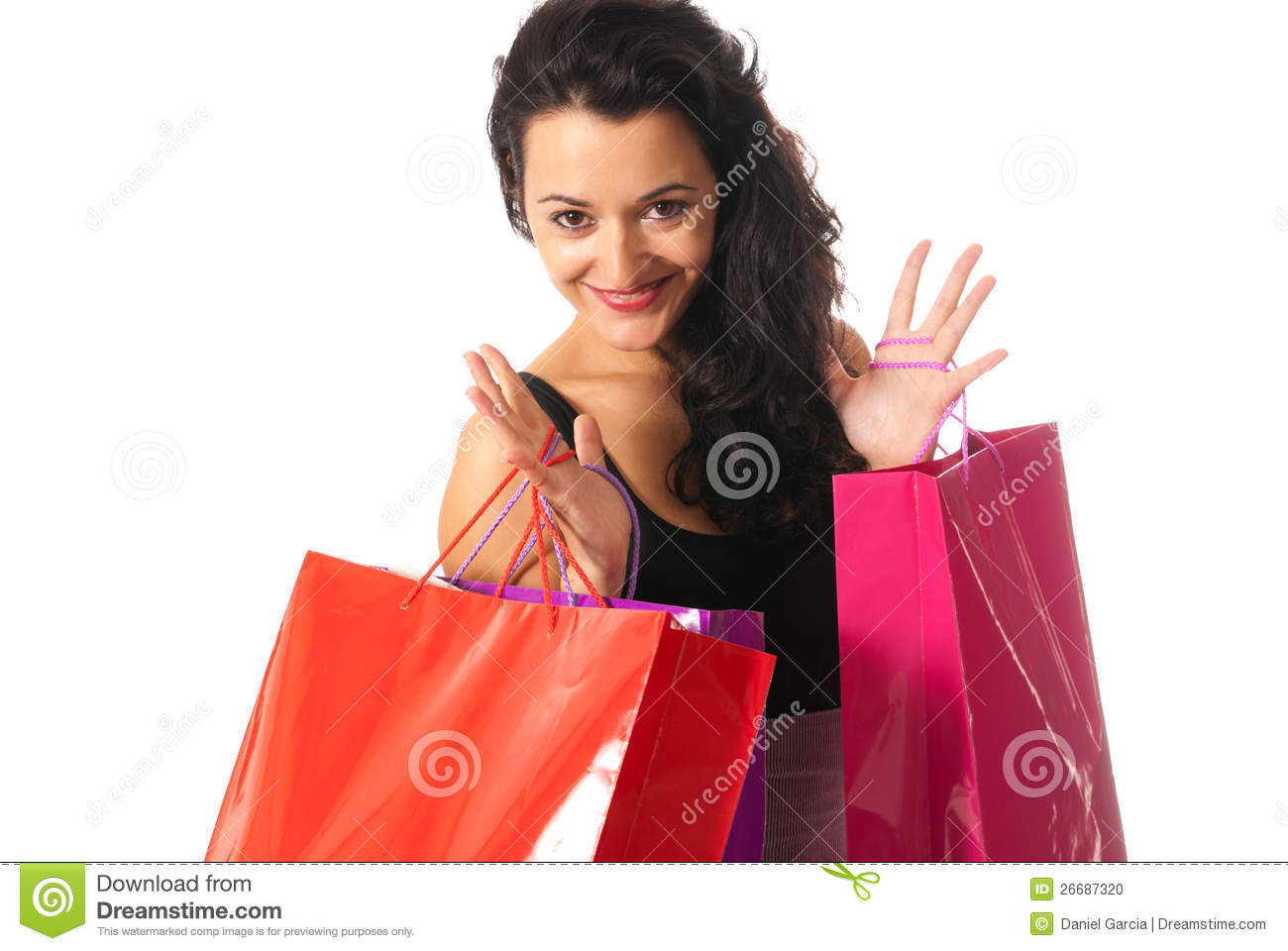 Young woman with shopping bags close-up isolated on white background