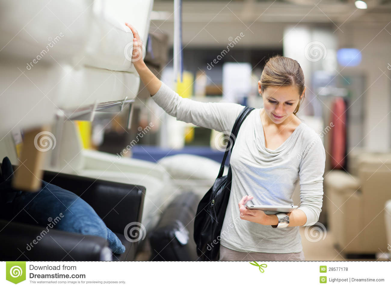 Royalty Free Stock Photo. Download Young Woman Shopping For Furniture ...