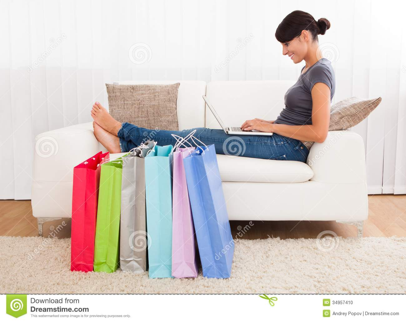 Young woman shopping online stock photo image 34957410 for Couch shopping