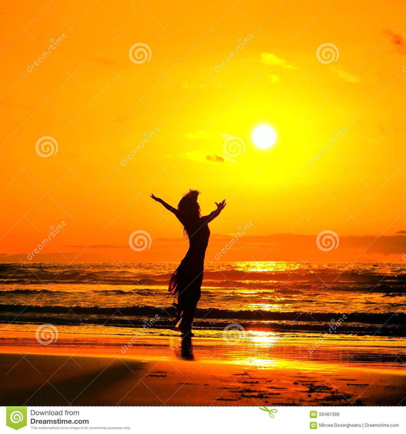 Young Woman Silhouette On The Beach In Summer Sunset