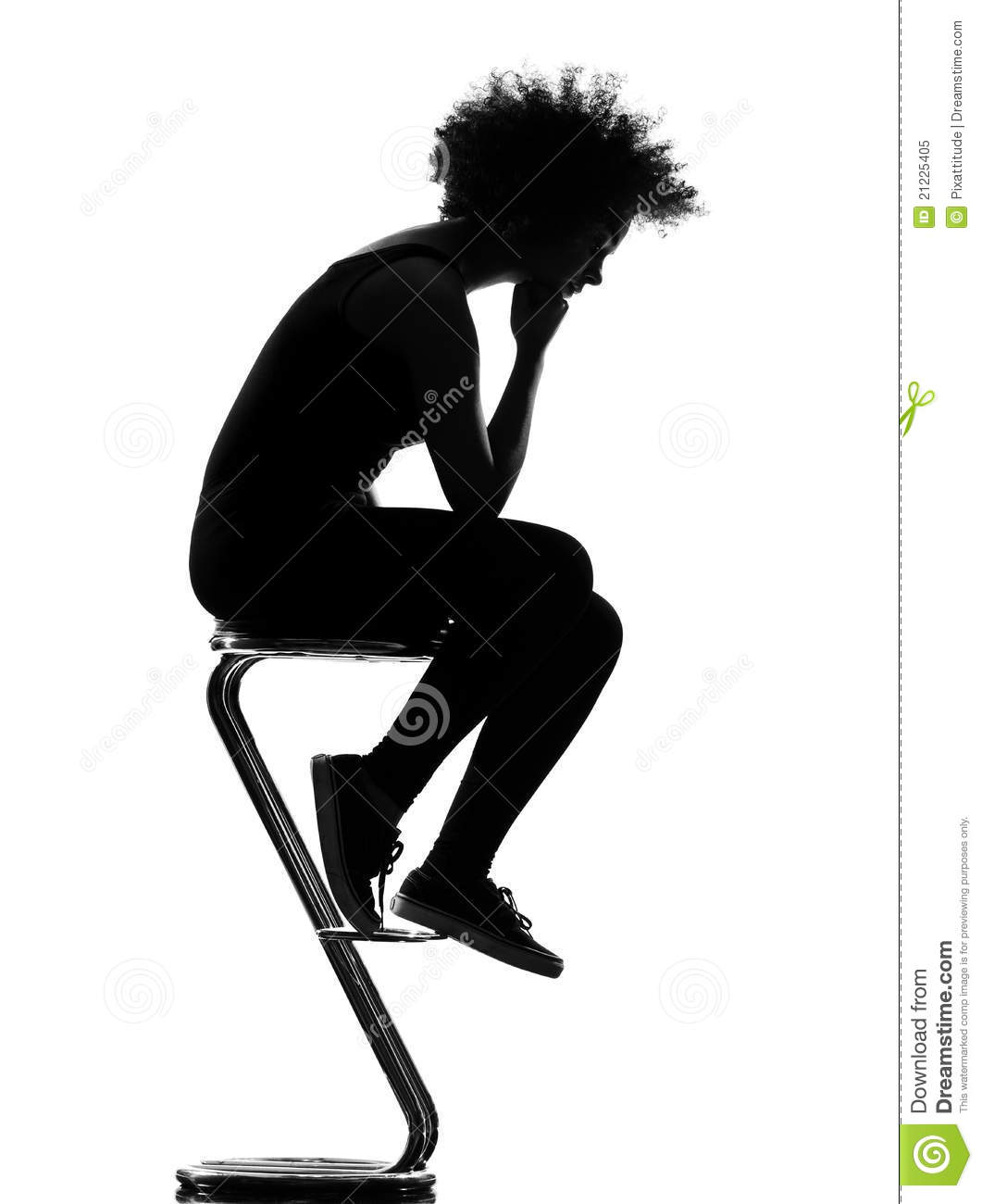 Young Woman Silhouette Sitting On Footstool Stock Image