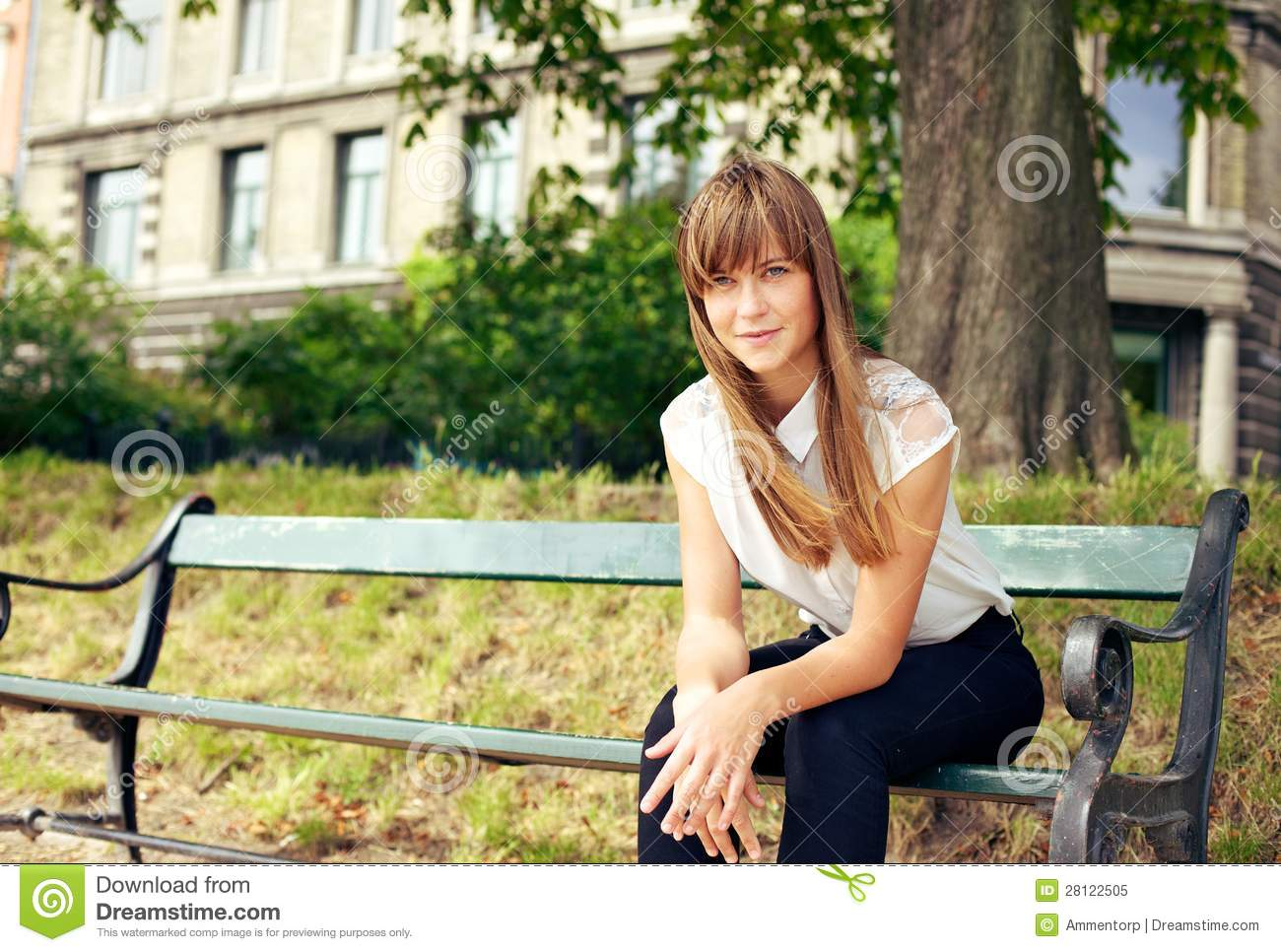 Girl Sitting Alone On Bench Young Woman Sitting Al...