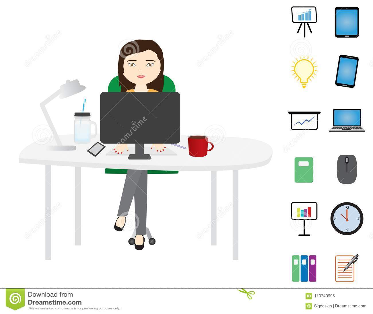 young woman sitting behind a white desktop stock vector