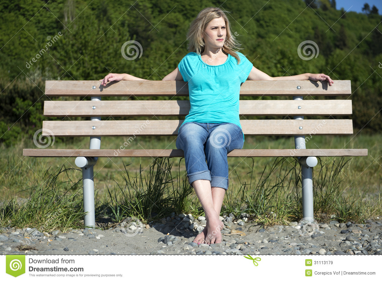 Young Woman Sitting On Bench At Beach Royalty Free Stock Images Image 31113179