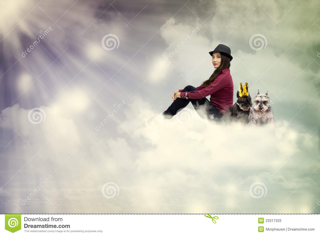 Young woman sitting on the cloud with dogs