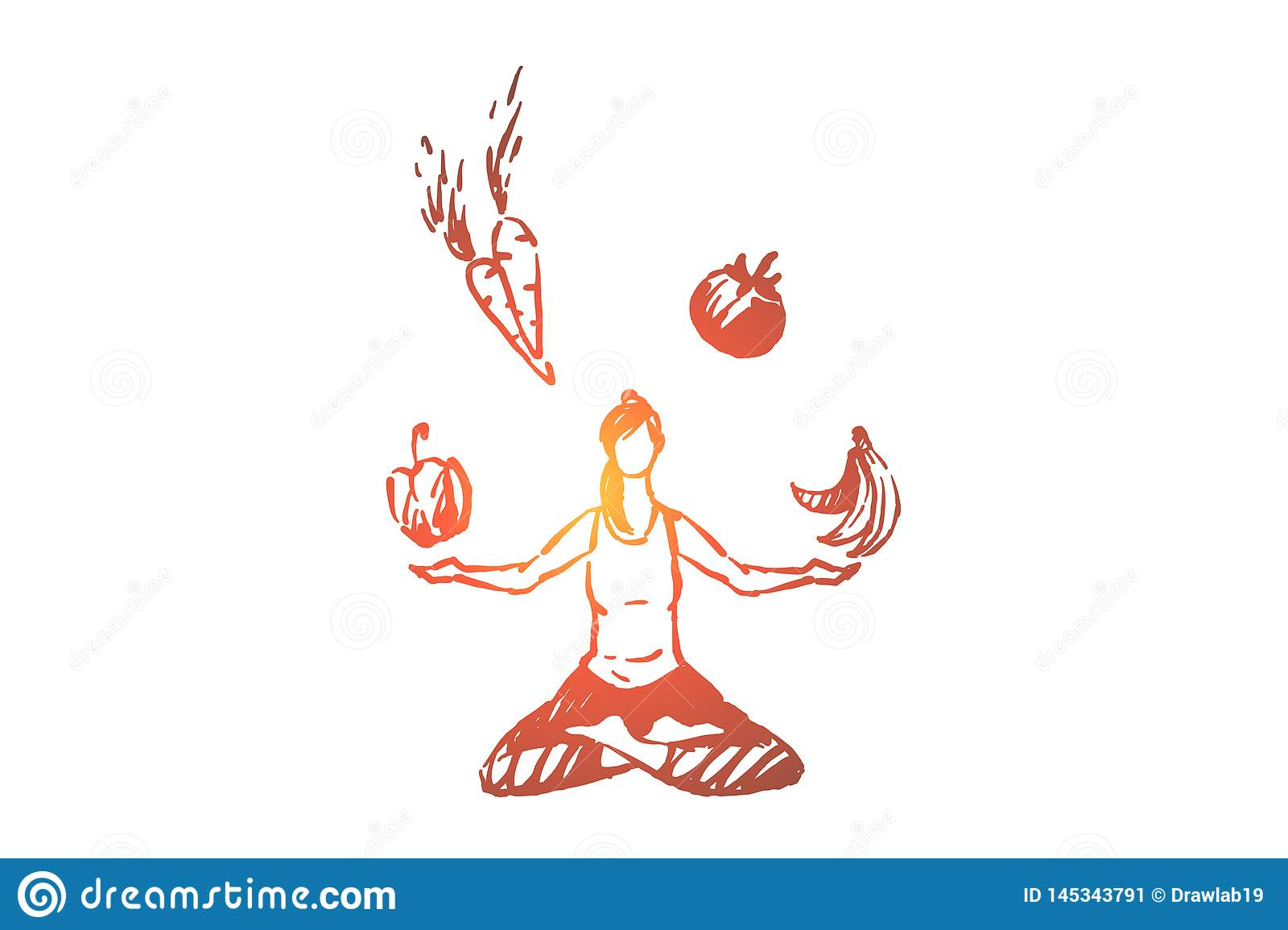 Young Woman Sitting In Lotus Pose Meditation And Fitness Organic Fruits And Vegetables Healthy Lifestyle Stock Vector Illustration Of Meditation Exercise 145343791
