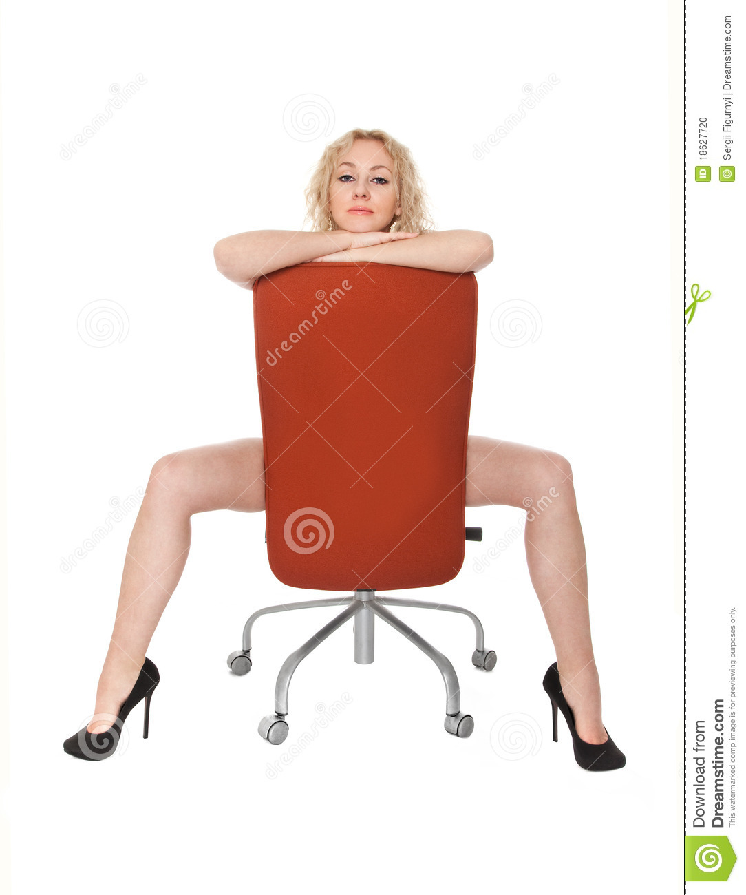 Young woman sitting in a navy armchair stock photo image for Sitting in armchair