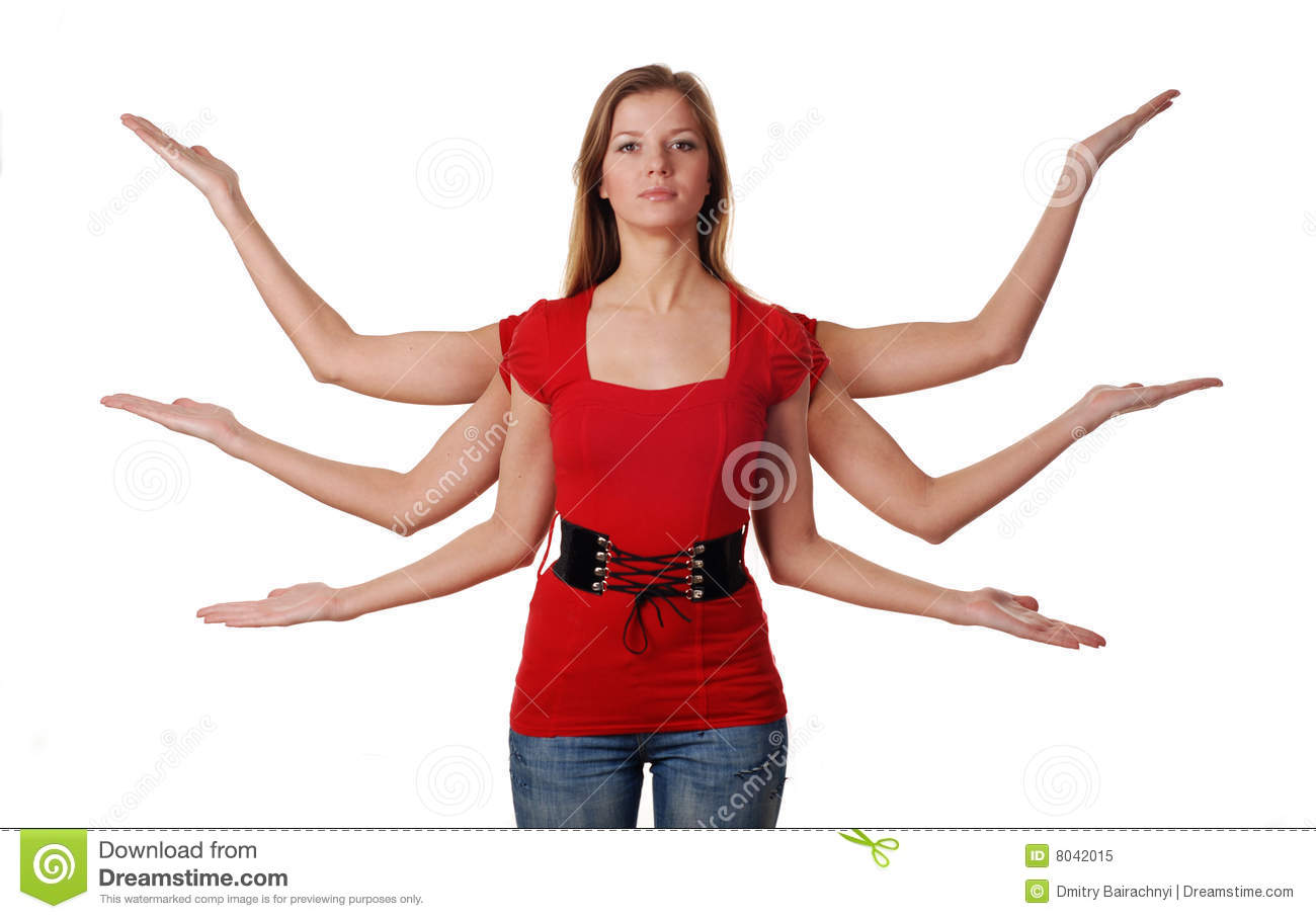 Young Woman With Six Hands Royalty Free Stock Photo -1208