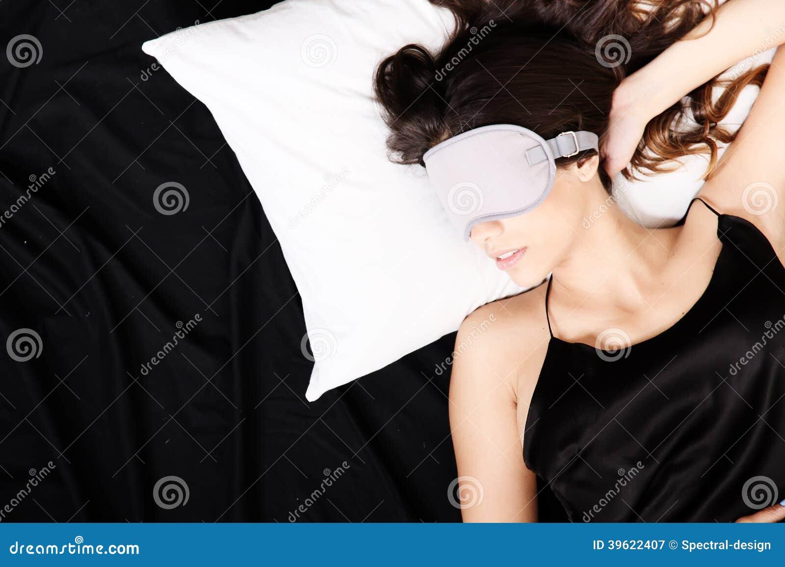 Young woman sleeping with Eyeshades