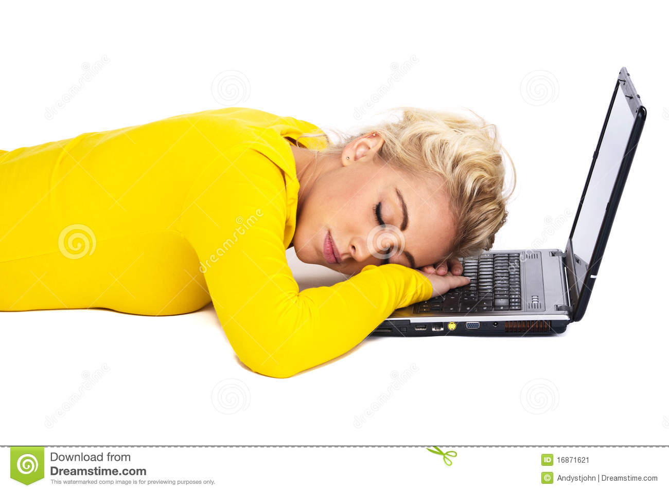 Person Is Sleeping On Laptop Royalty Free Stock