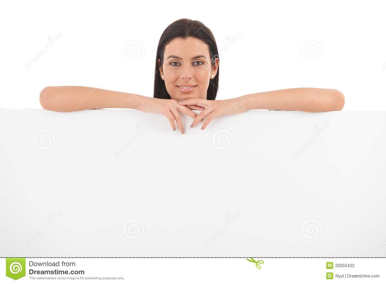 Download Young Woman Smiling Behind White Panel Stock Photo - Image of color, contact: 20050422
