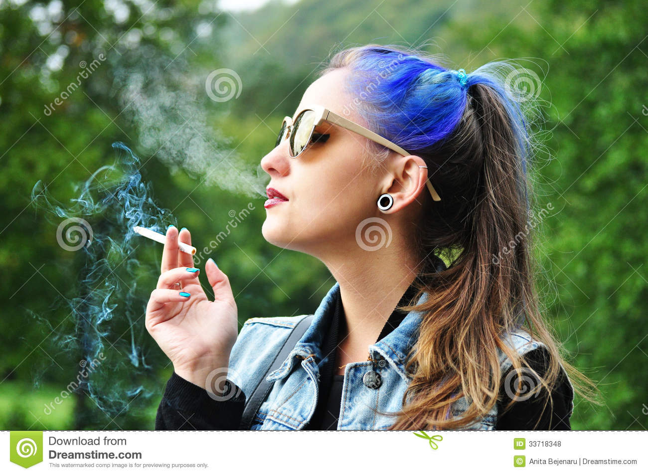 Young Woman Smoking Stock Photo Image Of Contemplate 33718348