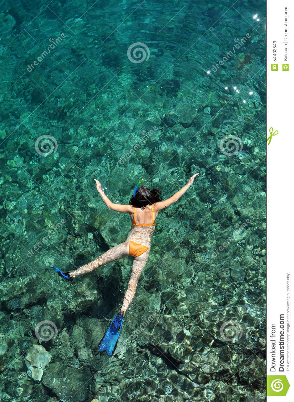 Young Woman Snorkeling In Bonaire, Caribbean Stock Image