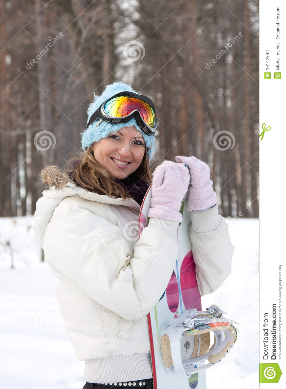 89eeeb5379 Young woman with snowboard stock photo. Image of pretty - 19142944