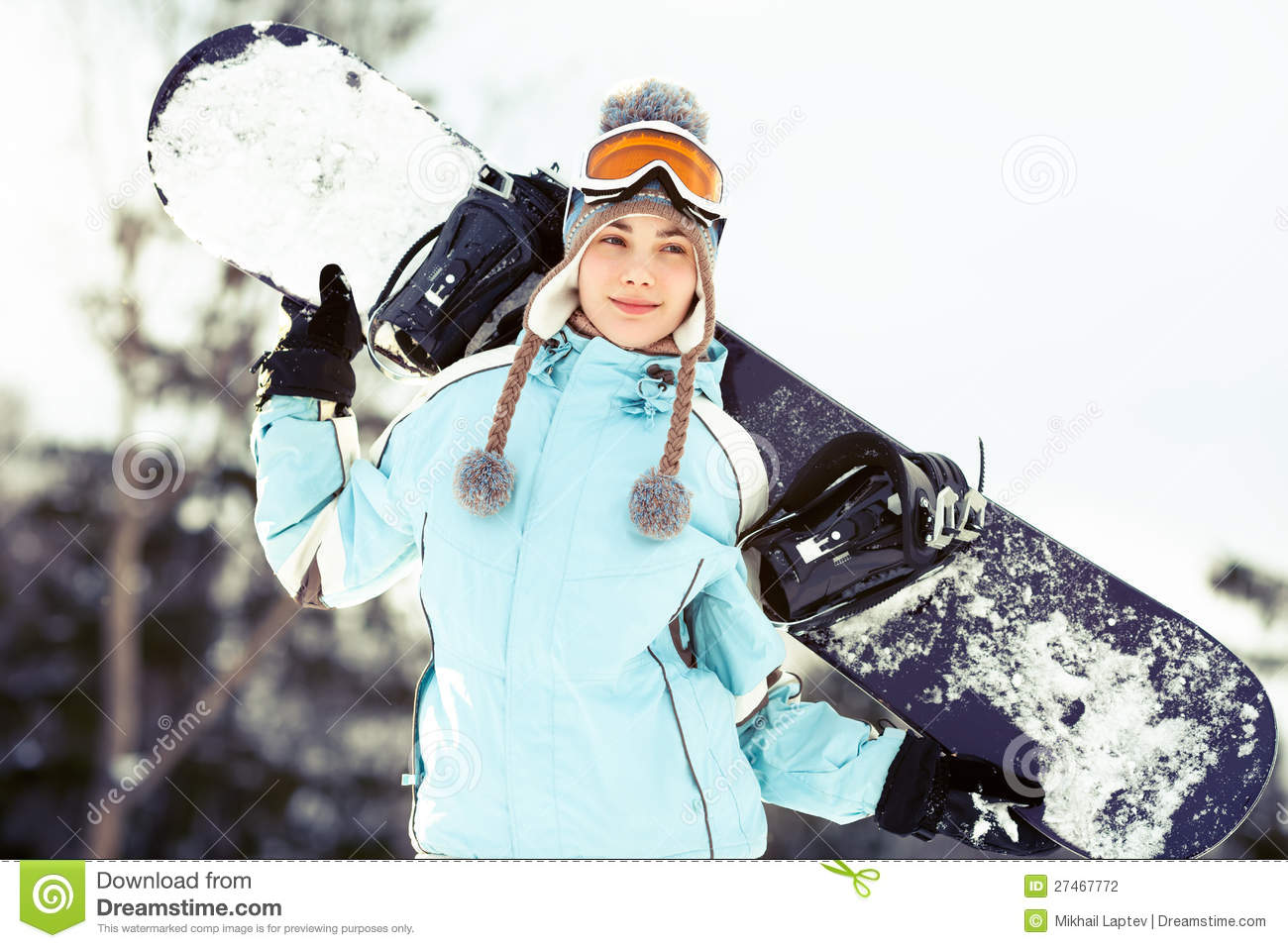 e34044c83c Young woman with snowboard stock photo. Image of activity - 27467772