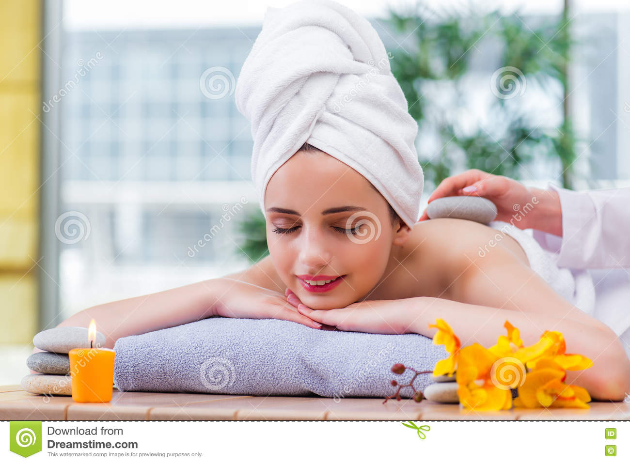 The young woman in spa concept