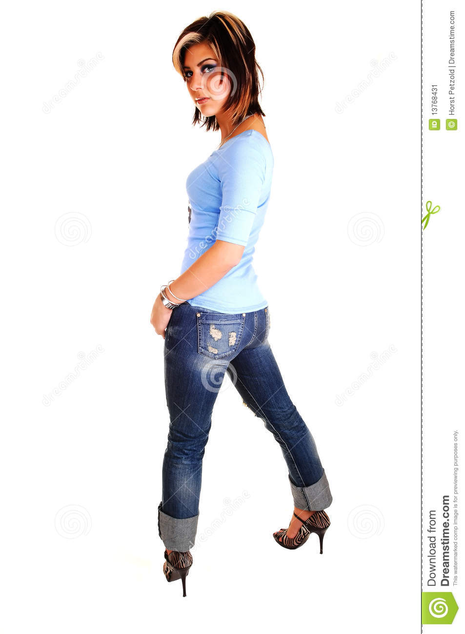 Young Woman Standing And Looking Back. Stock Image - Image ...