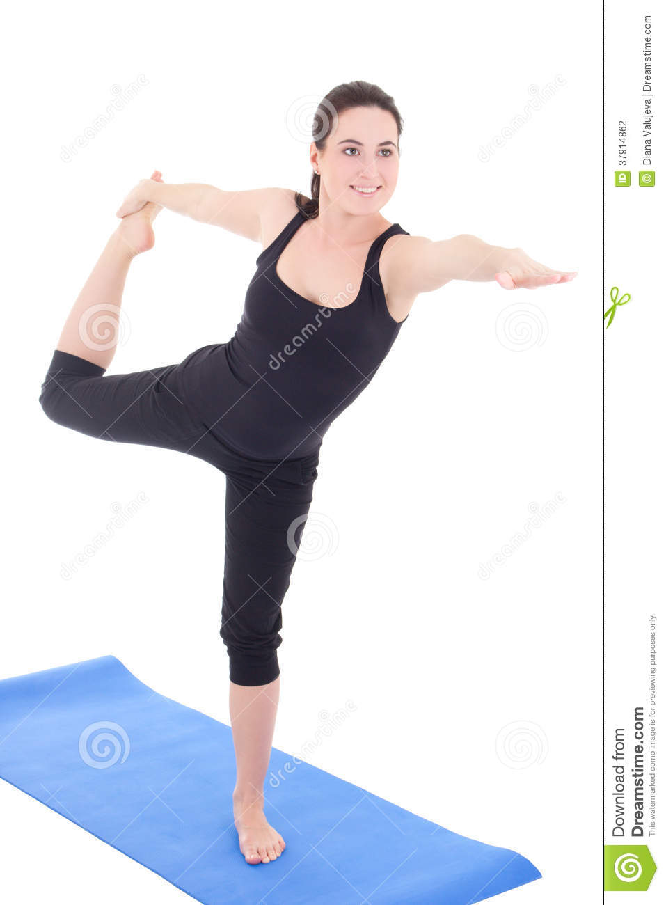 Young Woman Standing In Yoga Pose On Rubber Mat Isolated