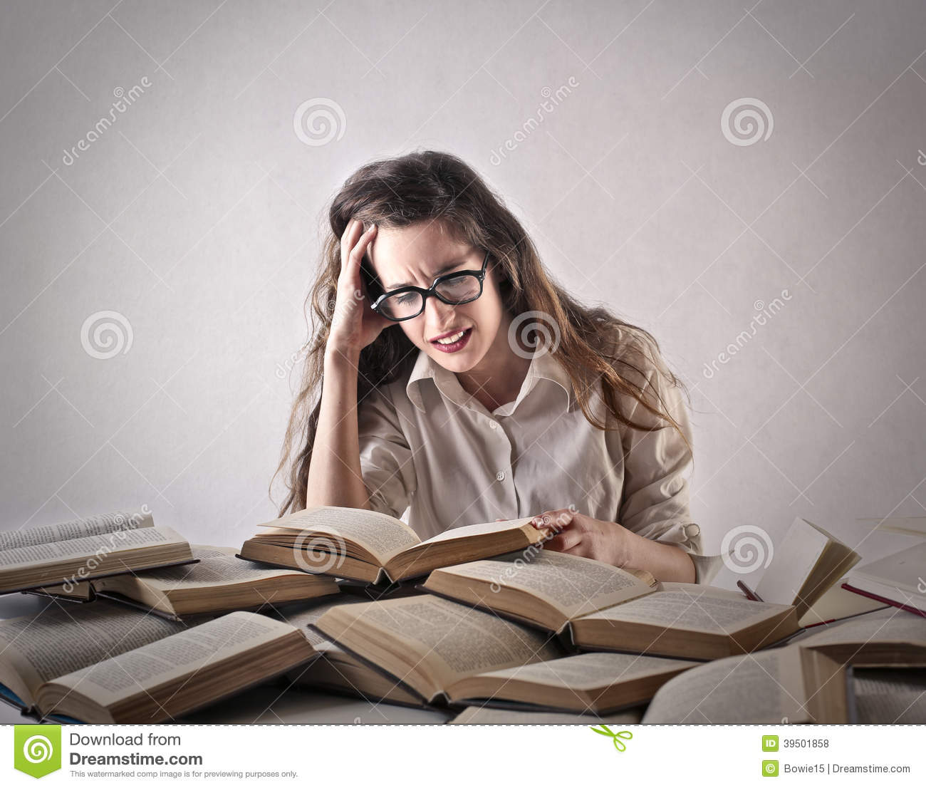 Young woman studying hard