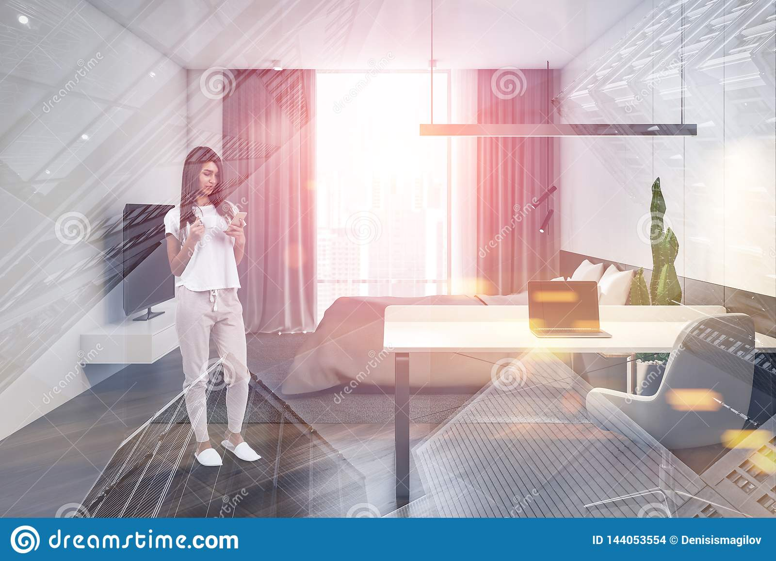 Young Woman In Stylish Bedroom With Computer Desk Stock Photo Image Of Casual Decorations 144053554