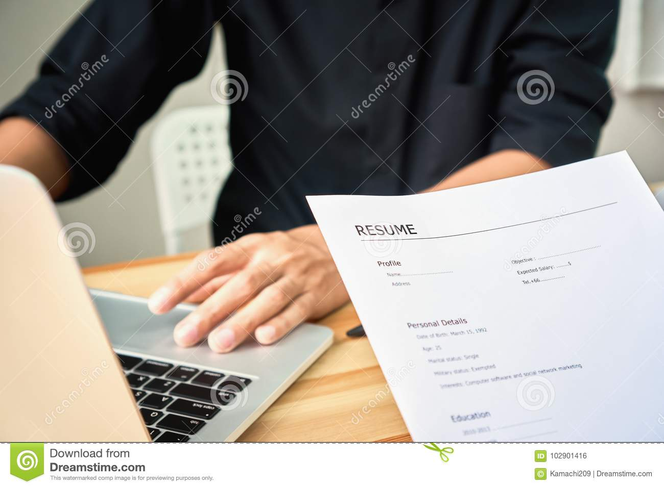 Young Woman Submit Resume To Employer To Review Job Application