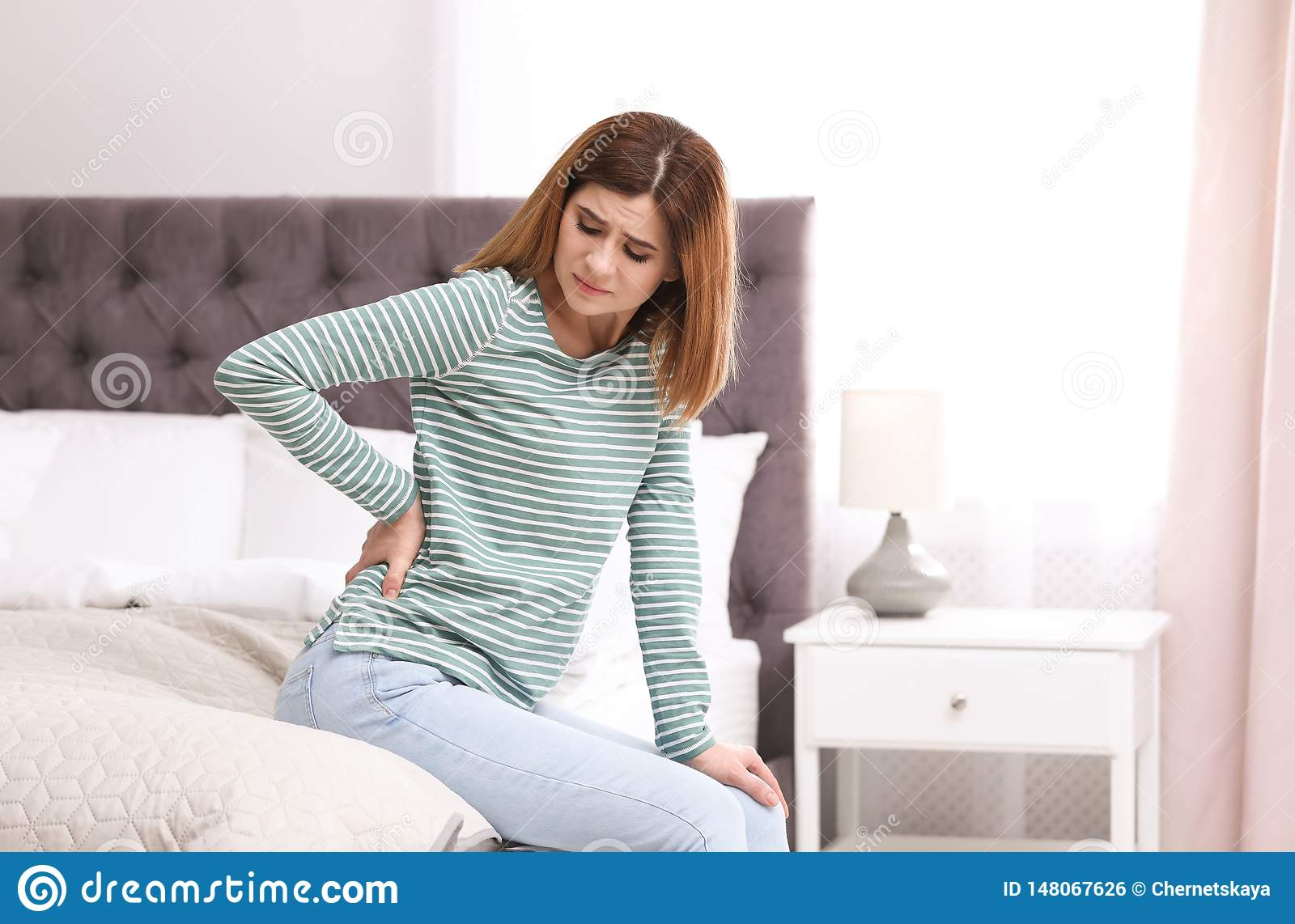 Backache stock photo. Image of isolated, painful, alone