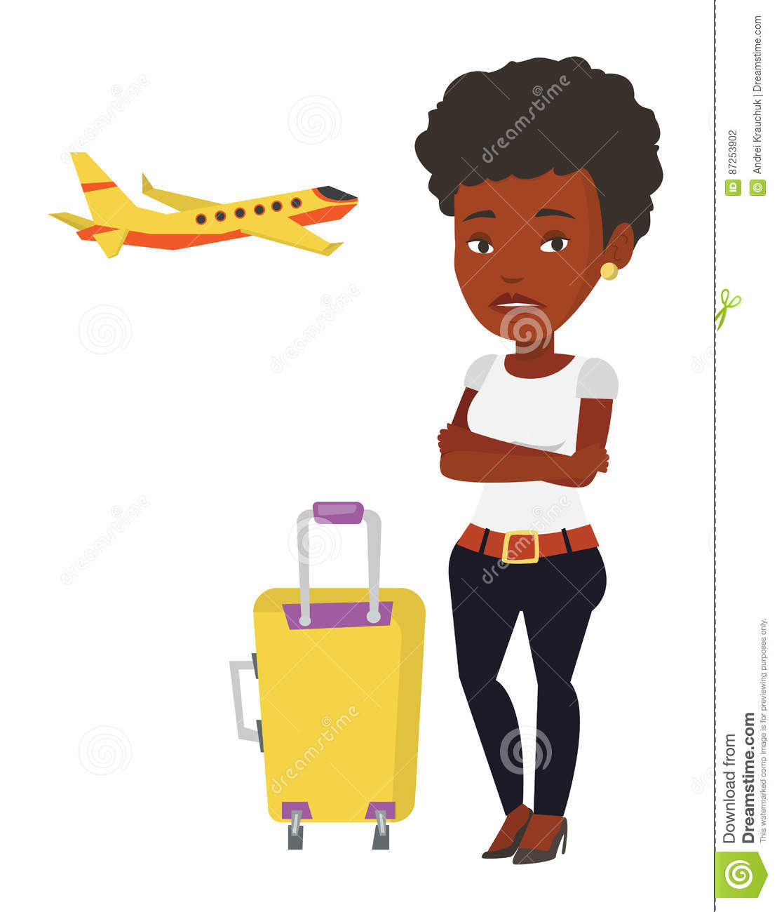 Young woman suffering from fear of flying.
