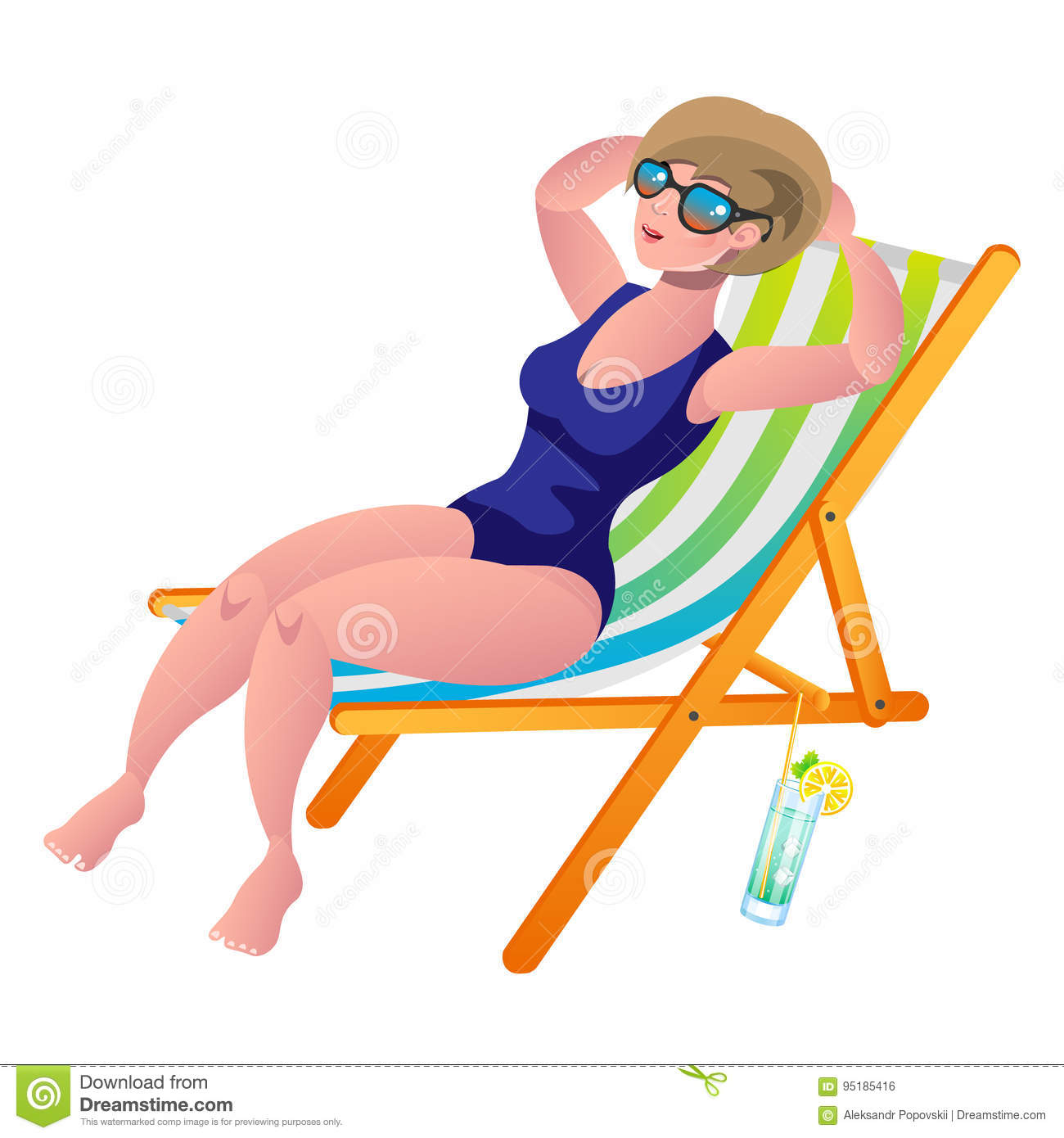 Young Woman Sunbathing Lying On The Beach In A Deck-chair ...