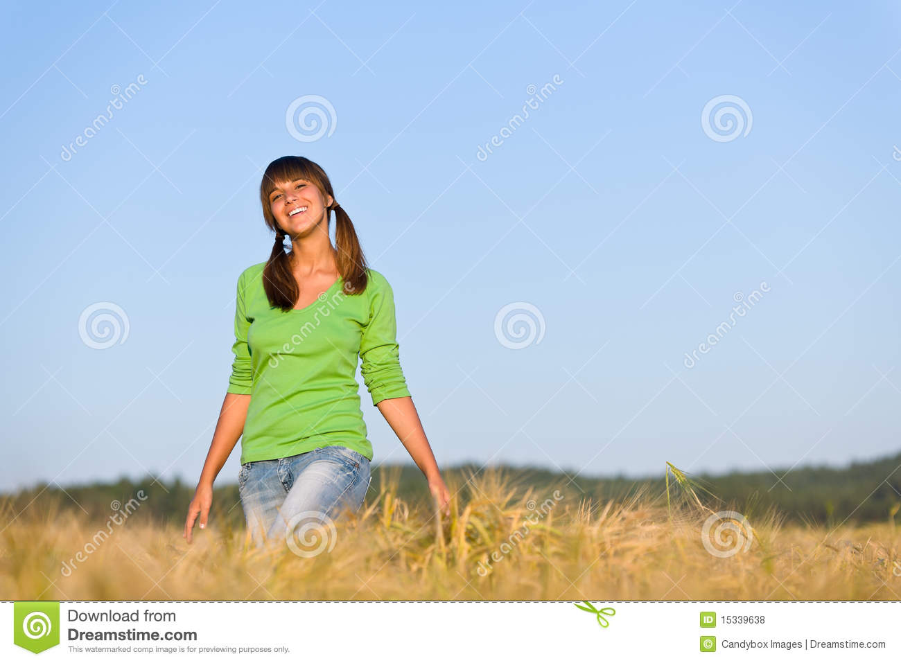 Young Woman In Sunset Corn Field Royalty Free Stock Photos ...