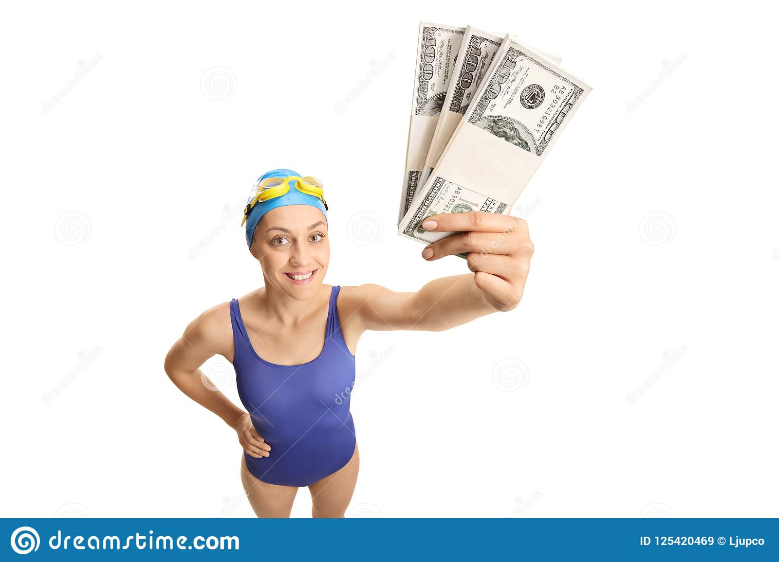 Young Woman In A Swimming Suit Holding Money Stock Image Image of