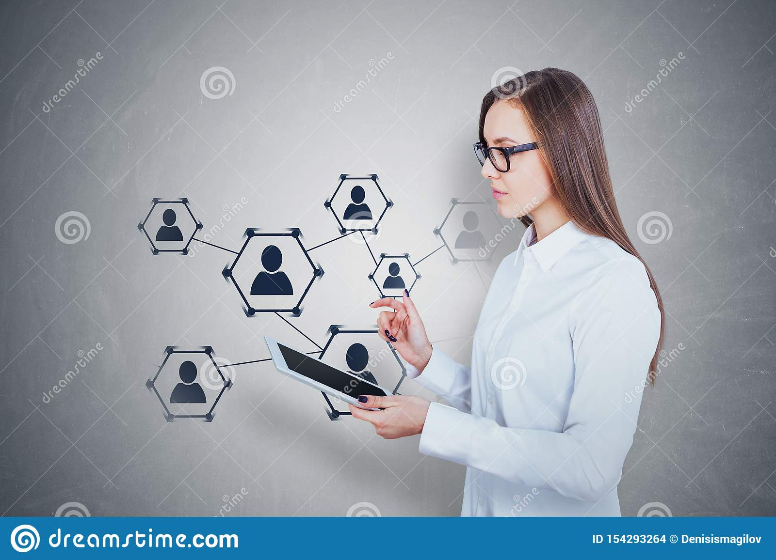 Young woman with tablet, social media