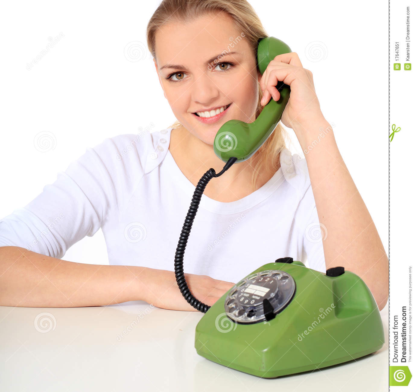Attractive young woman doing a phone call all on white background