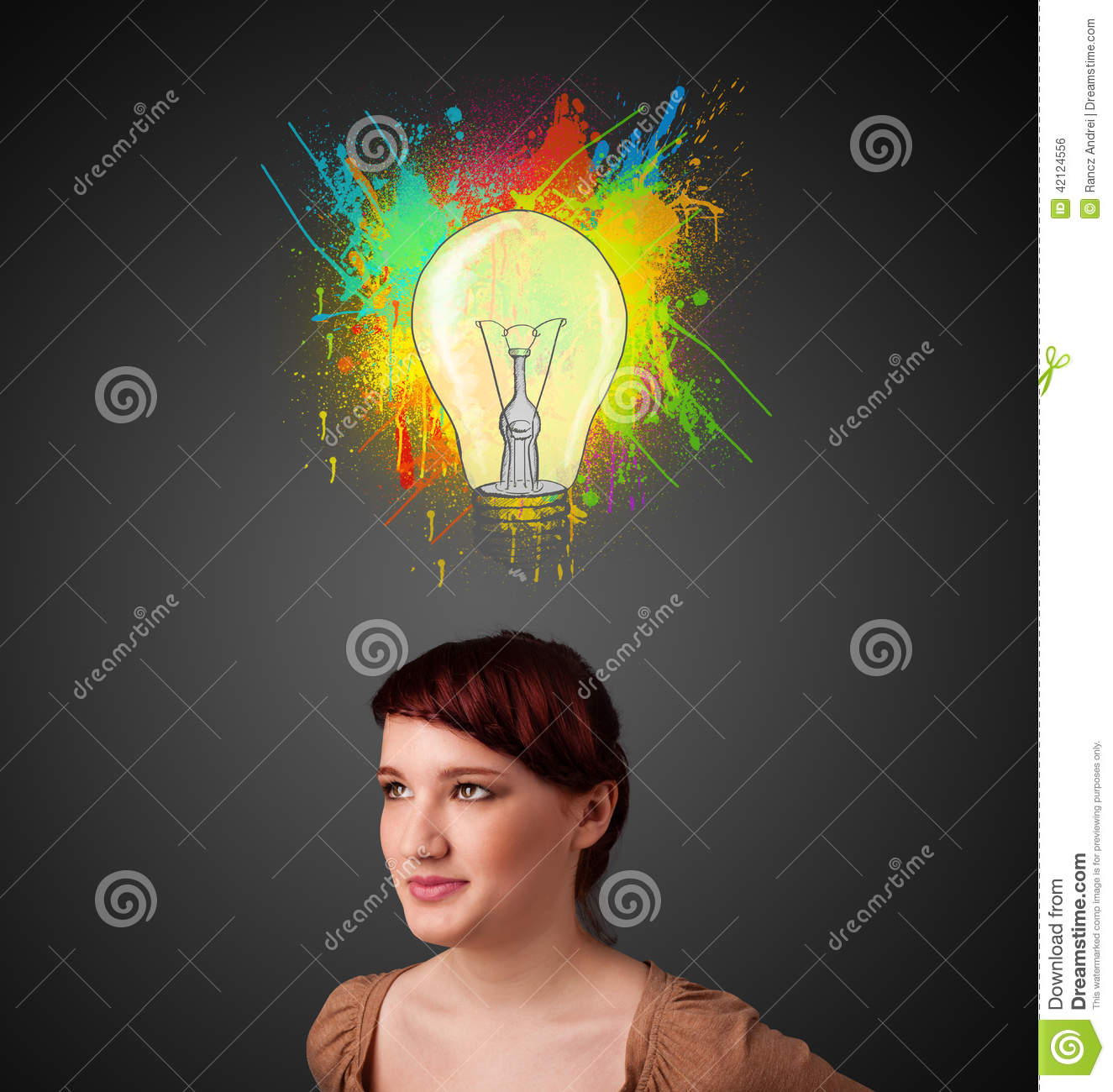 blonde with light bulb over her head