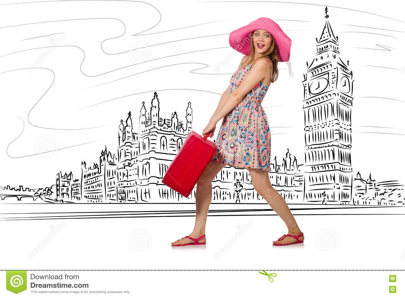 The young woman travelling to london in uk