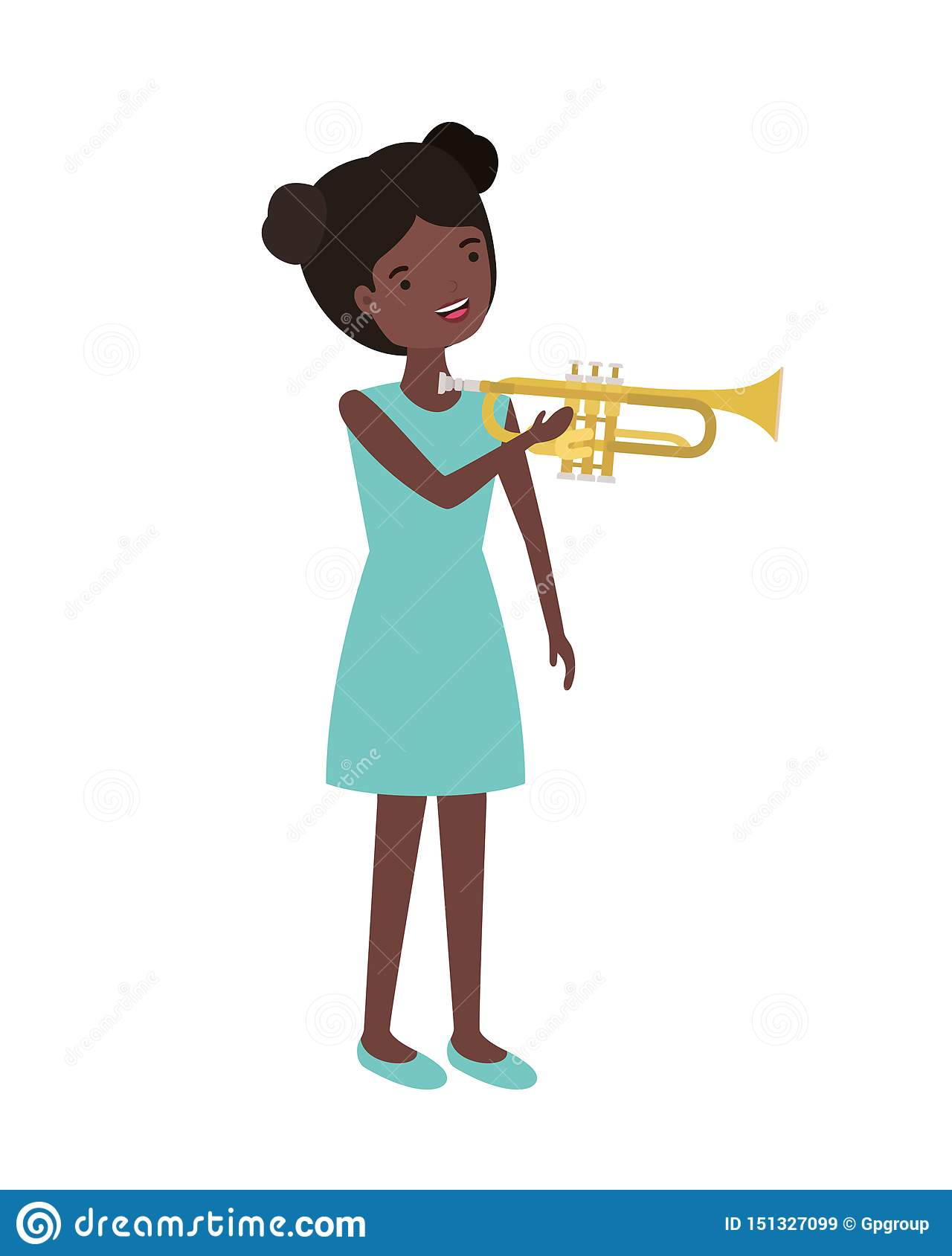 Young woman with trumpet character