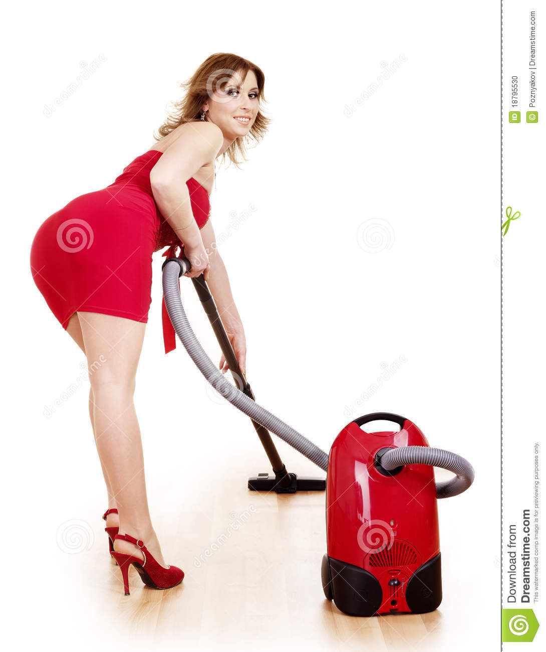 Woman using vacuum cleaner on white cartoon vector cartoondealer com 31873553