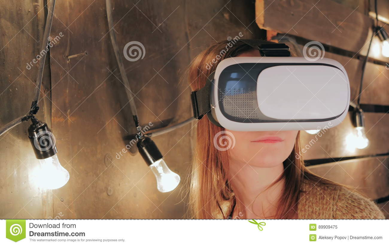 Happy Young Woman Playing On VR Glasses Indoor, Virtual