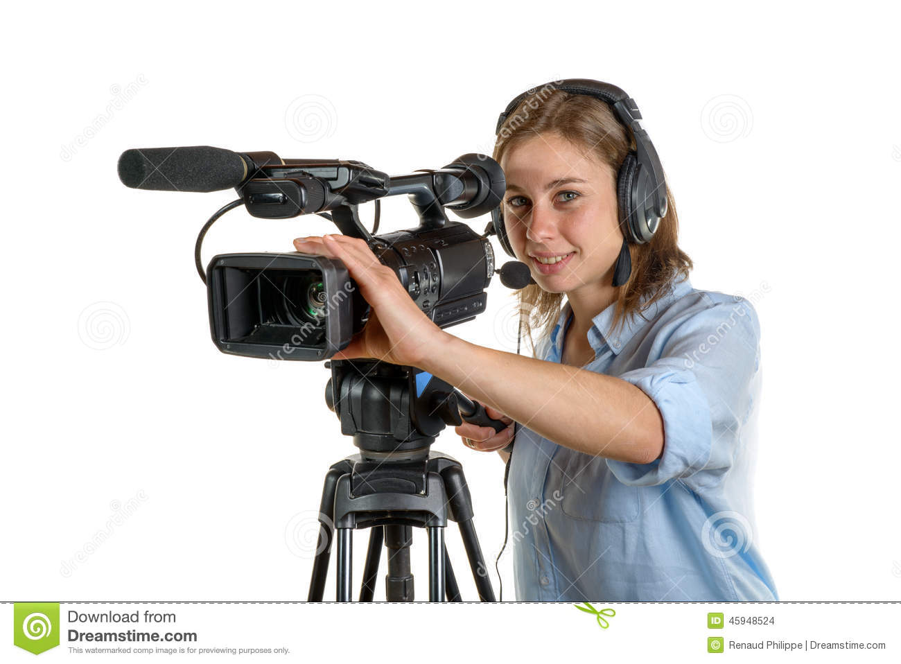 Young Woman With A Video Camera Stock Photo - Image: 45948524