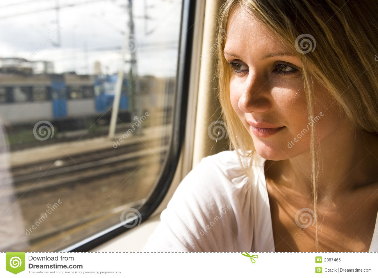 Young woman in vintage train