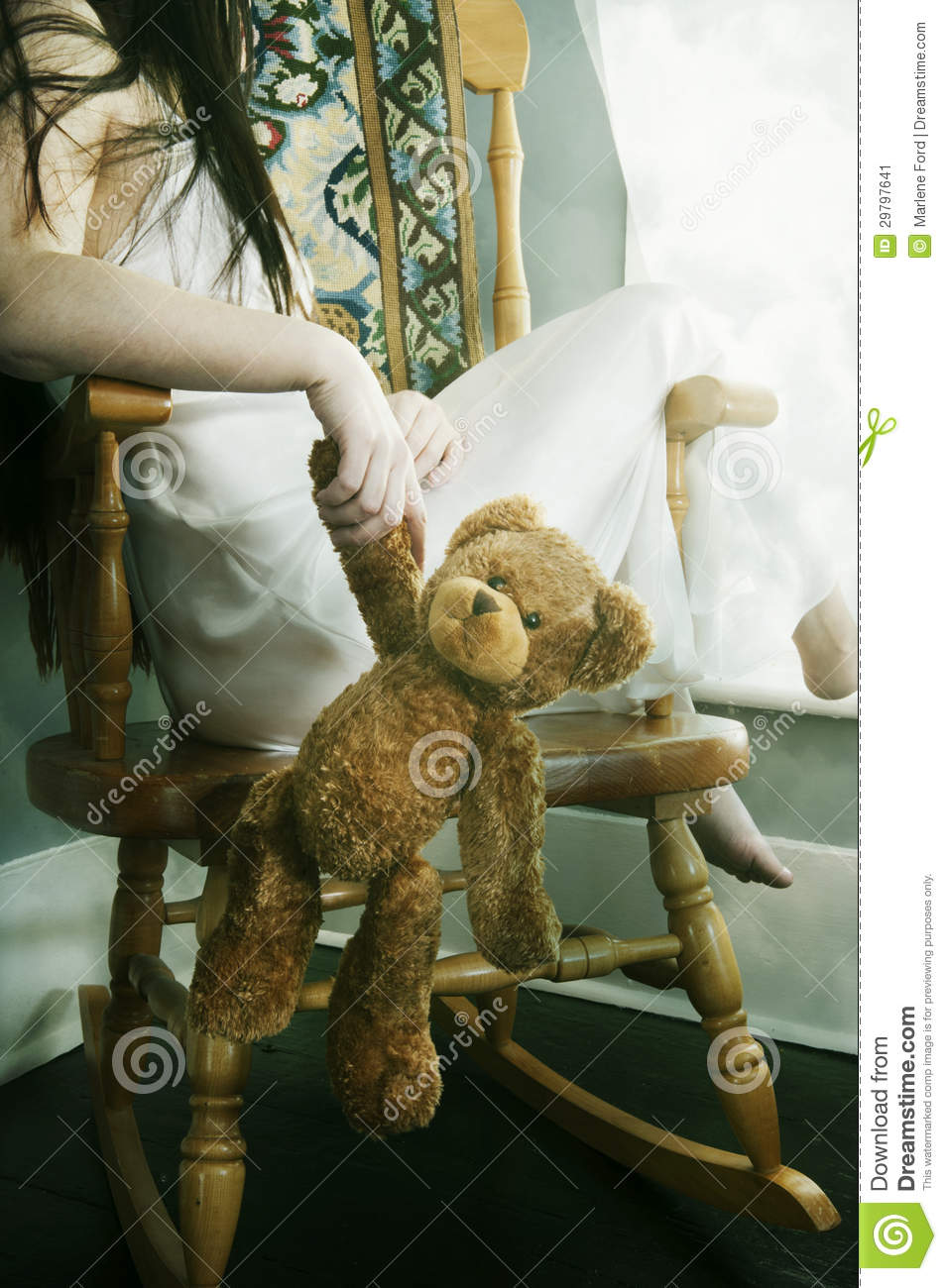 Young Woman With Teddy Bear Stock Image Image Of Sitting